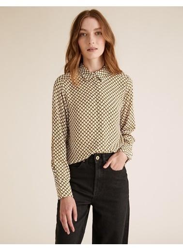 Marks & Spencer Geometrik Desenli Uzun Kollu Gömlek Sarı